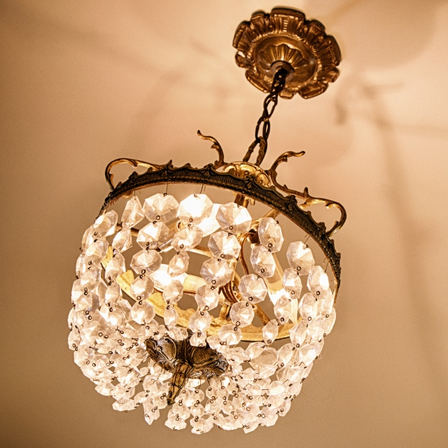 Our current chandelier: shabby chic or just shabby?